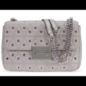 NEW Michael Kors Sloan Studded Bag. Pearl Gray.